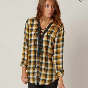 Lace up flannel